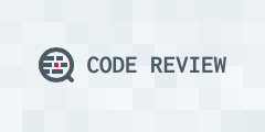 "The name ""Code Review"" in dark grey text, a grey magnifying glass, and a background of light-grey squares."