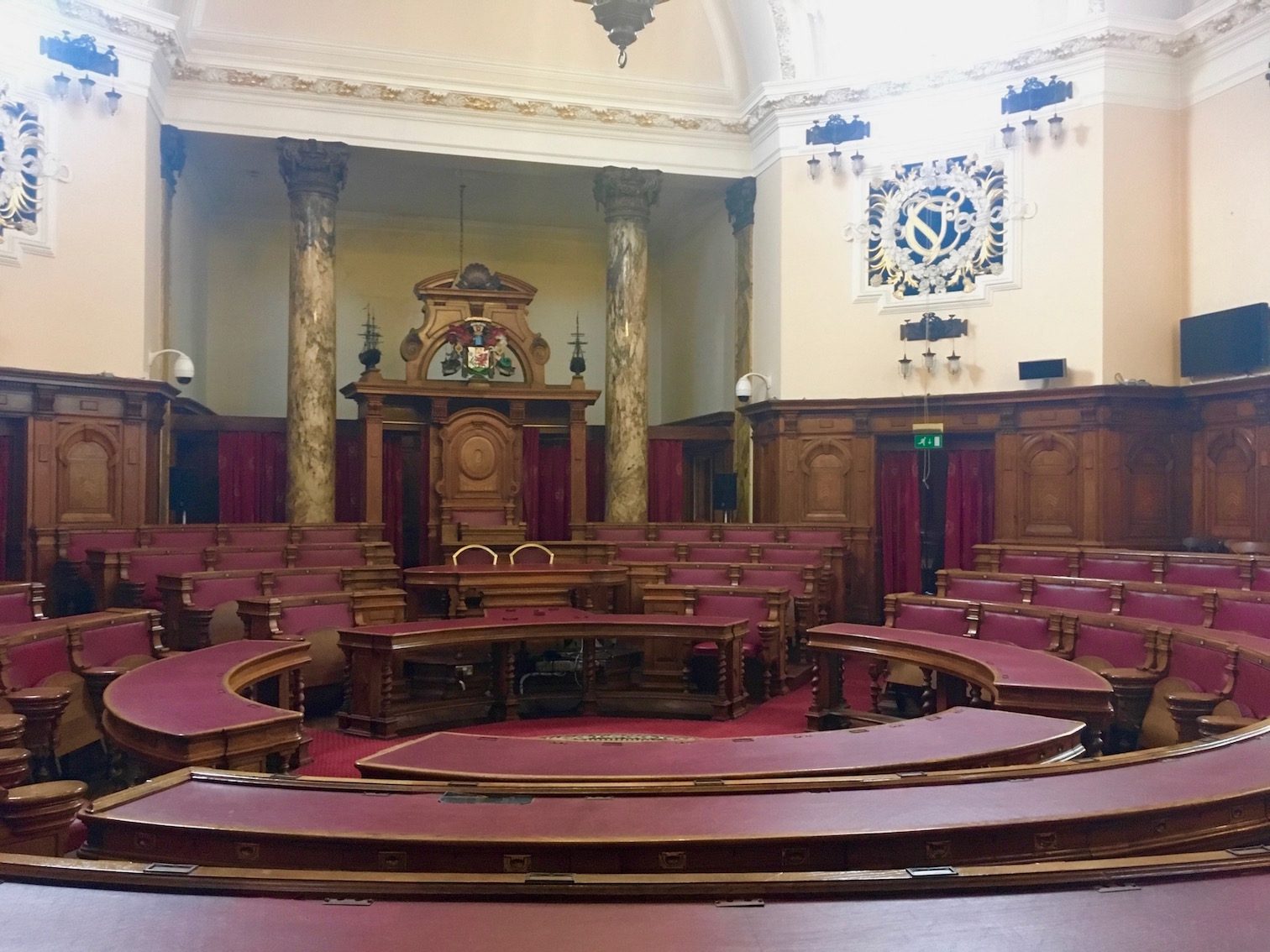 The council chamber at Cardiff City Hall