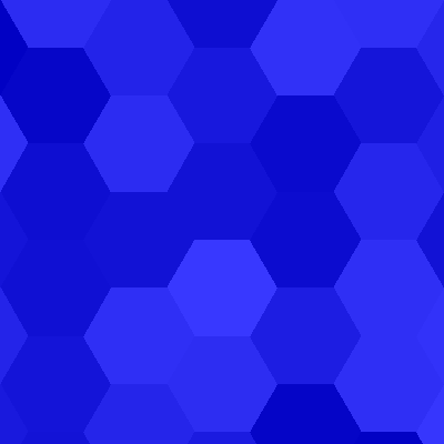 A pattern of hexagons in varying shades of blue.