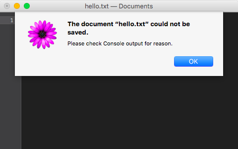 "A screenshot of a TextMate window showing a dialog ""The document 'hello.txt' could not be saved. Please check Console output for reason."""