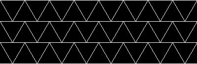 A black and white triangular grid, with three rows exactly the same