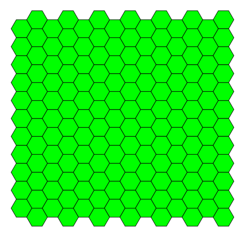 A pattern of green regular hexagons with black edges