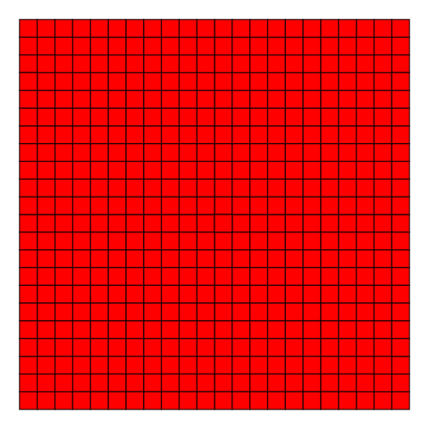 A grid of red squares with black edges