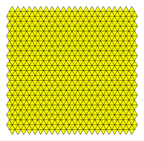 A pattern of yellow equilateral triangles with black edges