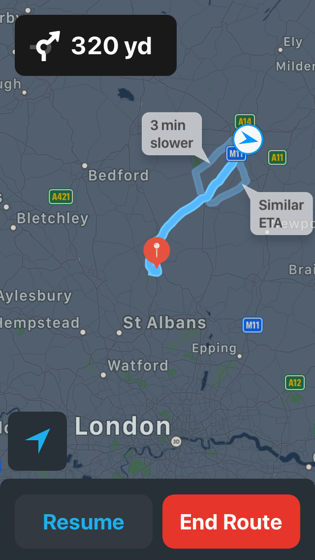 A screenshot of Apple Maps with two routes labelled ('3 min slower', 'Similar ETA') and a third highlighted, and two buttons ('Resume' and 'End Route').