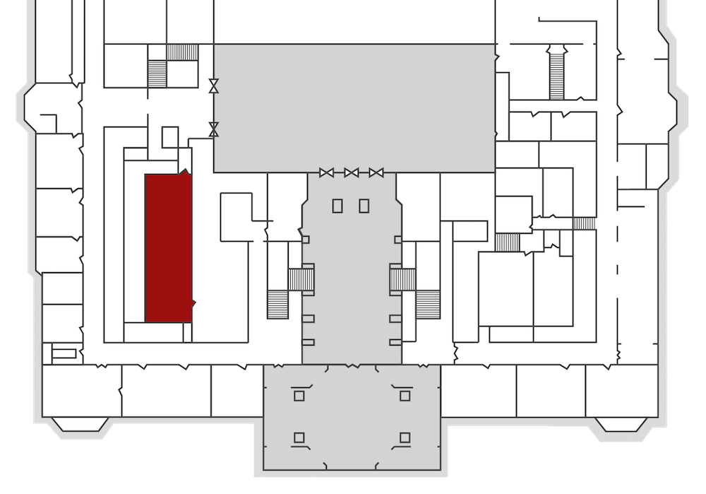 Another map of City Hall, with one room highlighted in red, and all the text removed.
