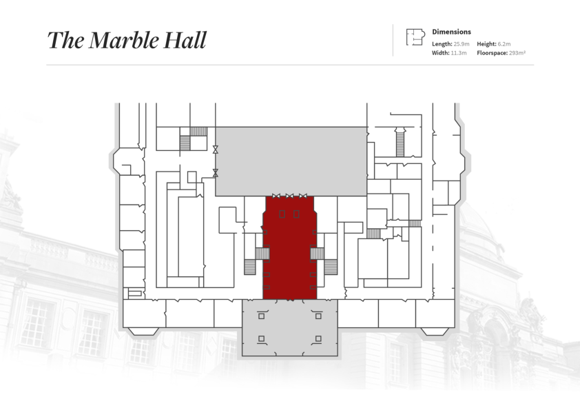 A map of Cardiff City Hall, with the Marble Hall highlighted in red.