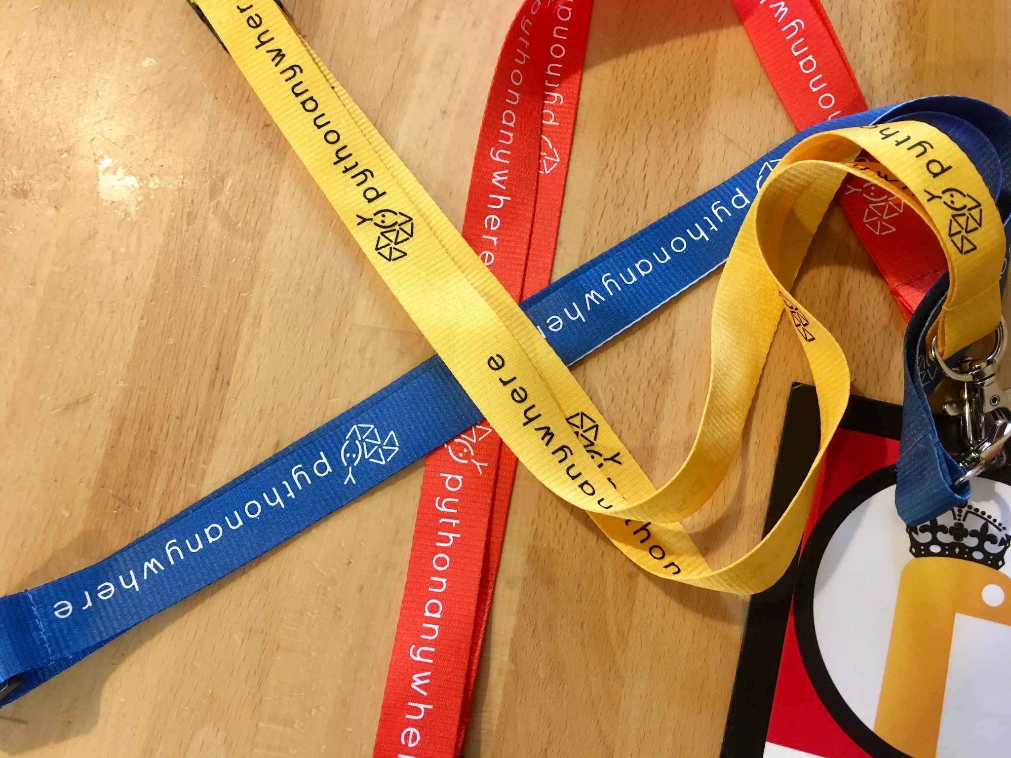 The red, blue and yellow lanyards attached to a partially in-shot badge.