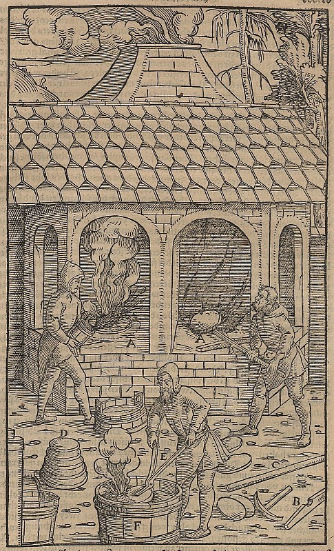 A sixteenth-century woodcut of three people smelting copper.