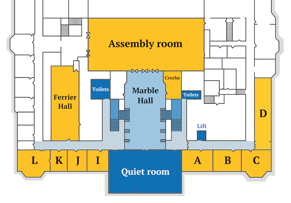 A map of the first floor of City Hall.