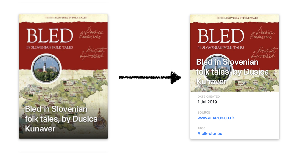 "Left: a red and yellow book cover with the words ""Bled in Slovenian folk tales, by Dusica Kunaver"". Right: the same cover, with a portion of white and some metadata covering the bottom half of the book. A black arrow from the left to right image."