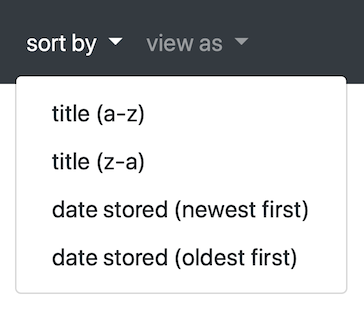 A 'sort by' dropdown menu with four options: 'title (a-z)', 'title (z-a)', 'date created (newest first)' and 'date created (oldest first)'.