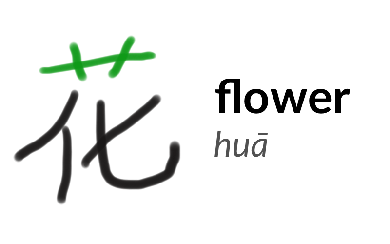 The character 花 or huā, meaning 'flower'. The grass radical is highlighted in green on the top of the character.