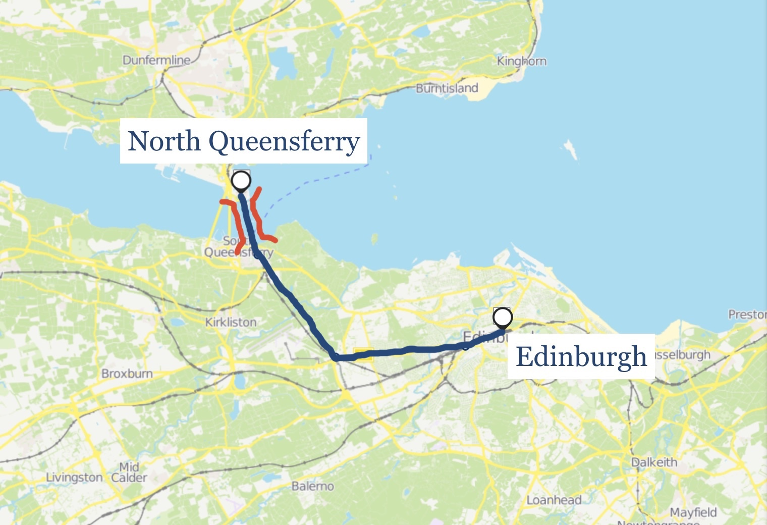 A map showing the railway line between Edinburgh and North Queensferry.