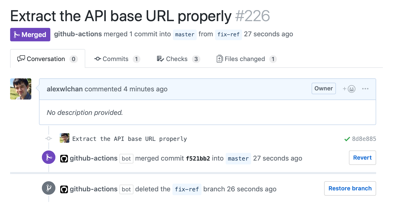A screenshot of the GitHub pull request UI, showing the github-actions bot merging and deleting a branch.
