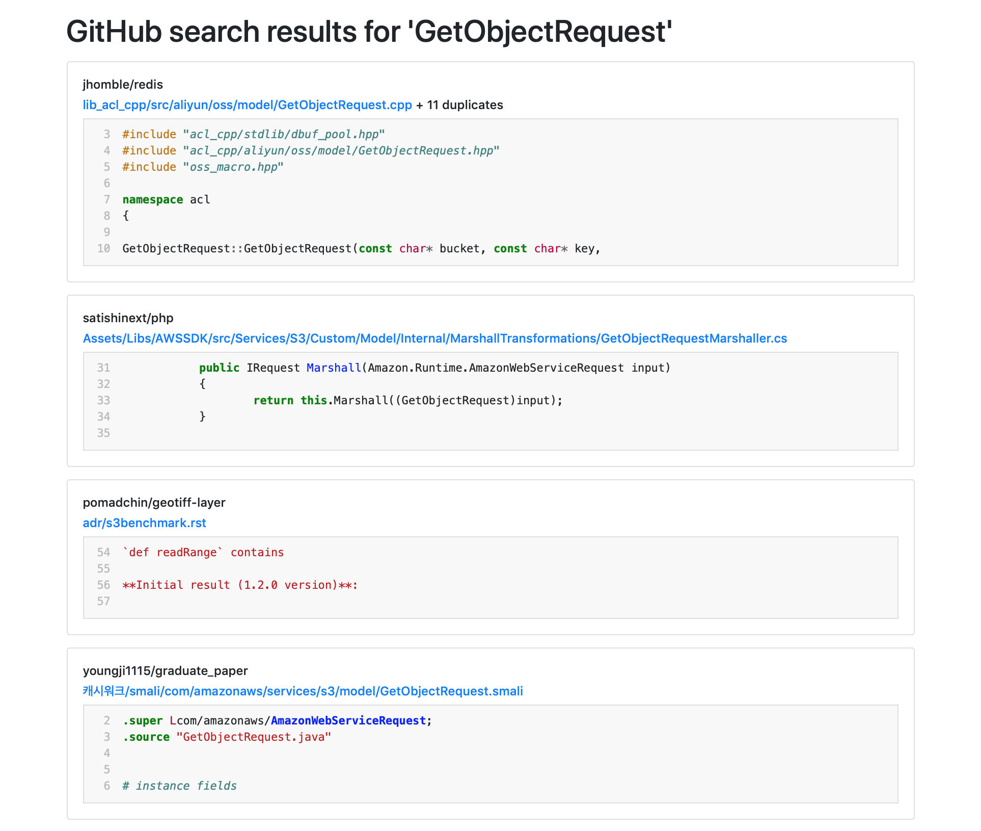 A page of search results, with a snippet of code accompanying each search result.