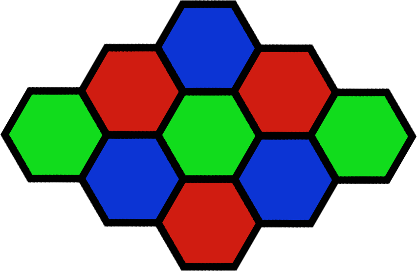 A set of tiling hexagons with thick black borders. The hexagons are coloured one of red, green, or blue.