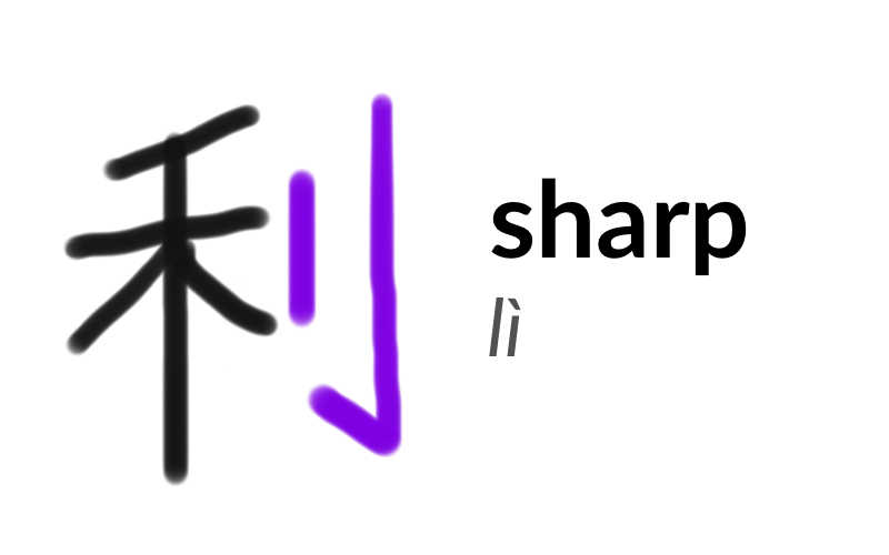 The character 利 or lì, meaning 'sharp'. The knife radical is highlighted in purple on the right-hand side of the character.