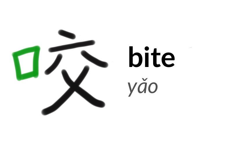 The character 咬 or yǎo, meaning 'bite'.