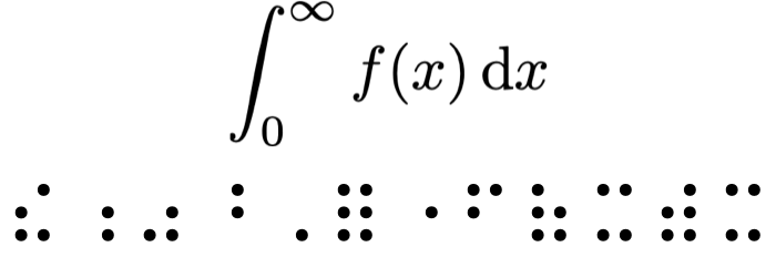 A short mathematical expression with the associated Nemeth Braille.