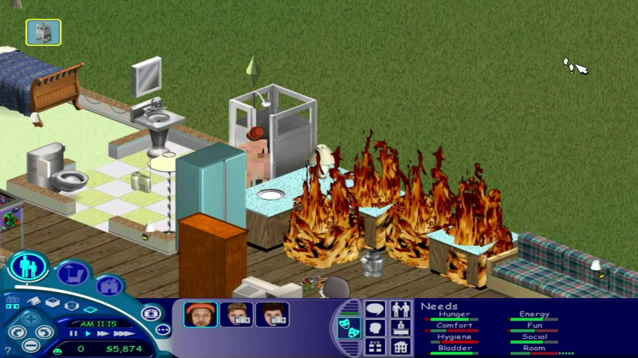 Screenshot of a kitchen in a game world. Several units in the kitchen are on fire.