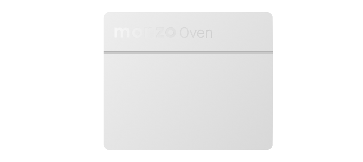 "A grey rectangle with the words ""Monzo Oven"" inscribed in faint lettering at the top"