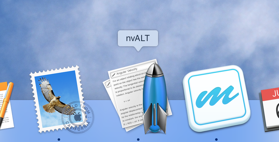 The nvALT Dock icon with a blue rocket set against a blue background