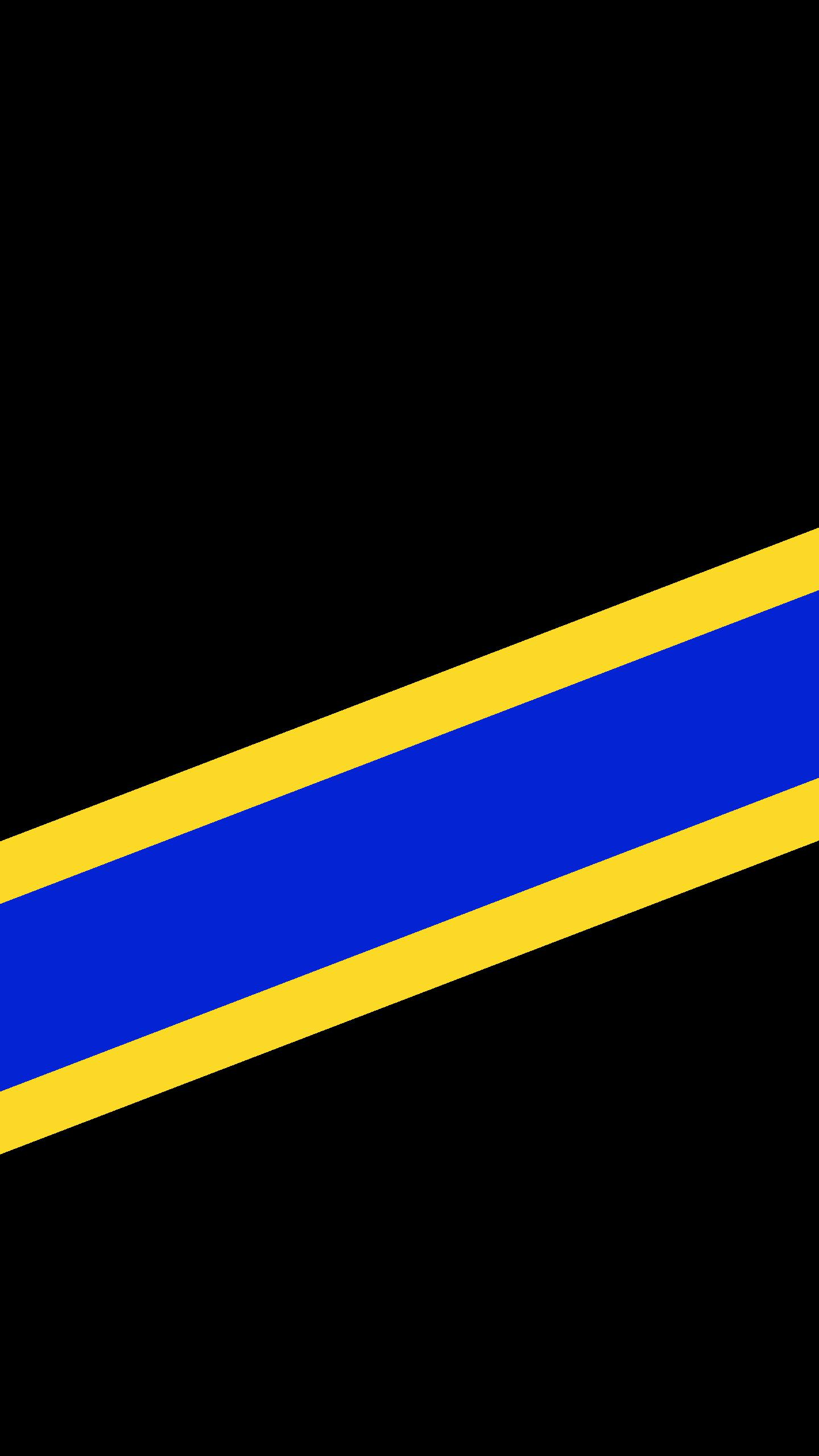 A black wallpaper with yellow, blue, yellow stripes. The blue stripe is three times the width of the yellow.