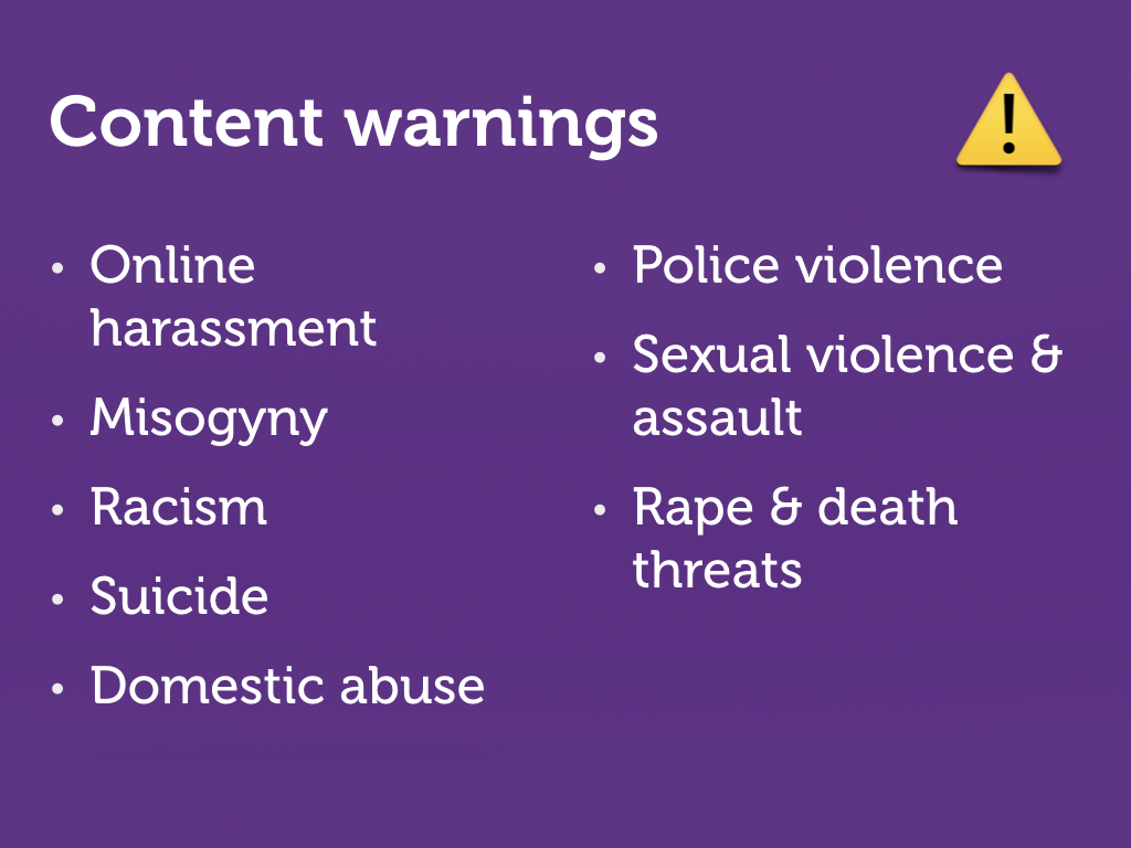 Slide with a list of content warnings.