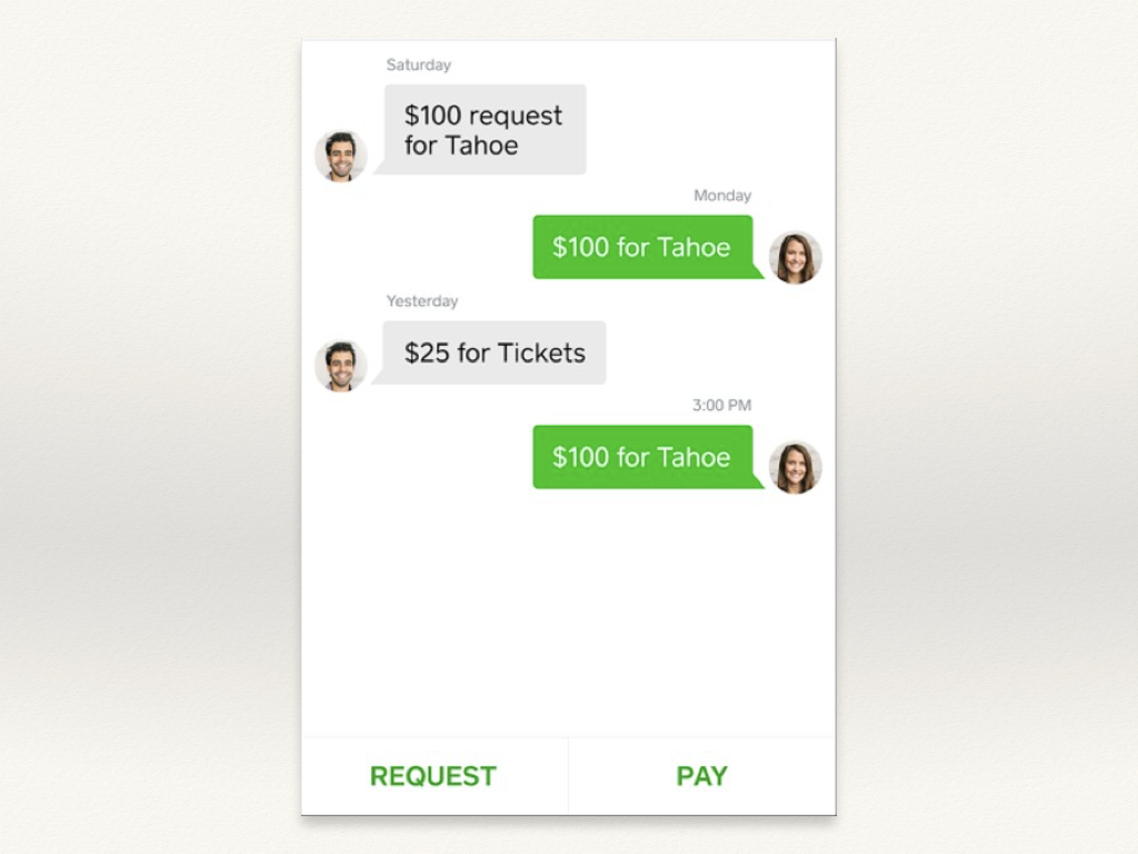 "A screenshot of a chat app with green and grey chat bubbles, with two buttons at the bottom: ""Request"" and ""Pay""."