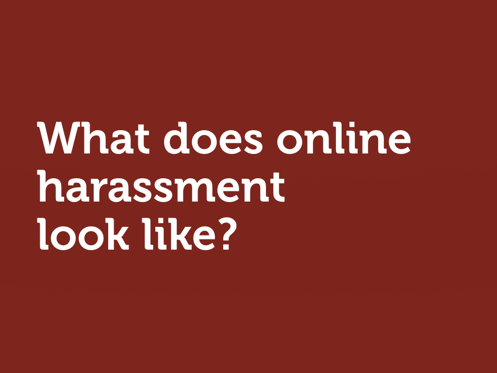 "White text on red: ""What does online harassment look like?"""