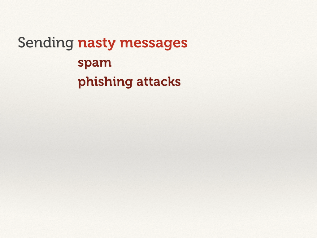 Sending nasty messages: spam and phishing attacks.