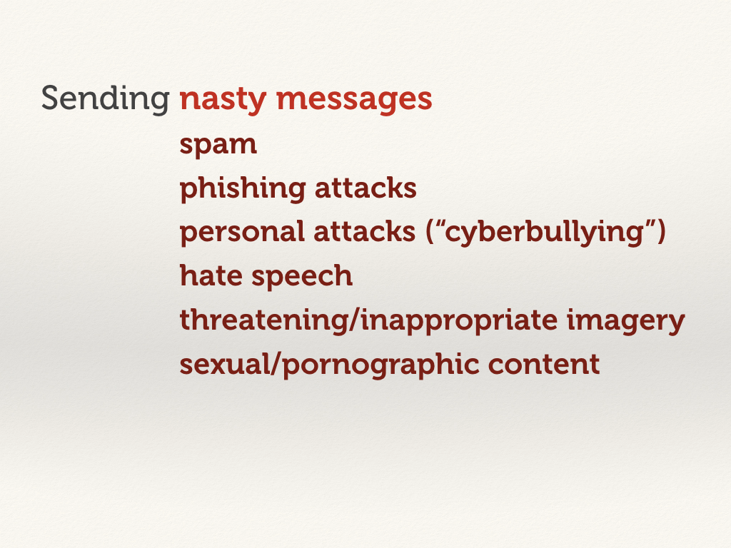 Sending nasty messages: hate speech, threatening/inappropaite imagery, sexual/pornographic content.