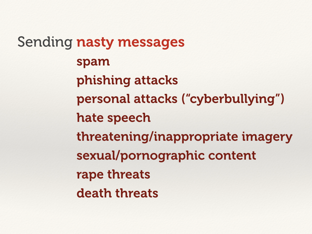 Sending nasty messages: rape threats and death threats.