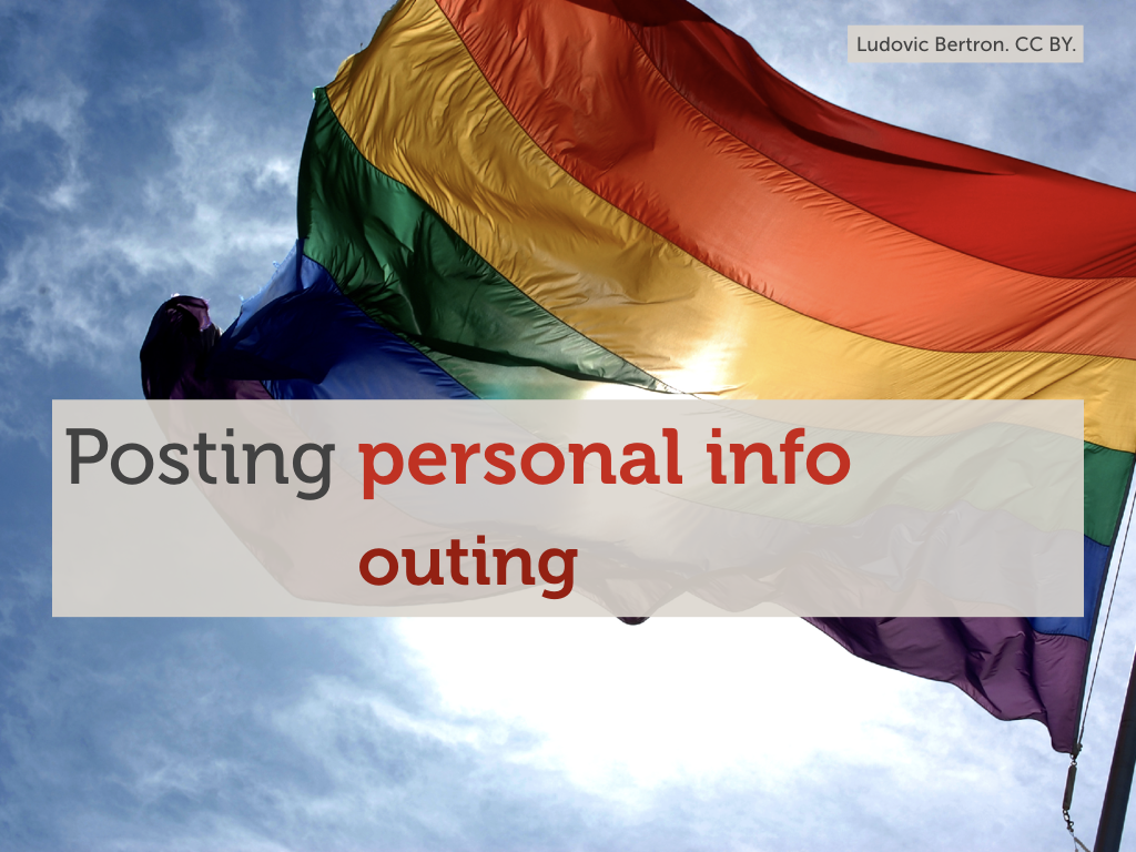 "A photo of a rainbow flag with the text ""Posting personal info: outing"" overlaid."