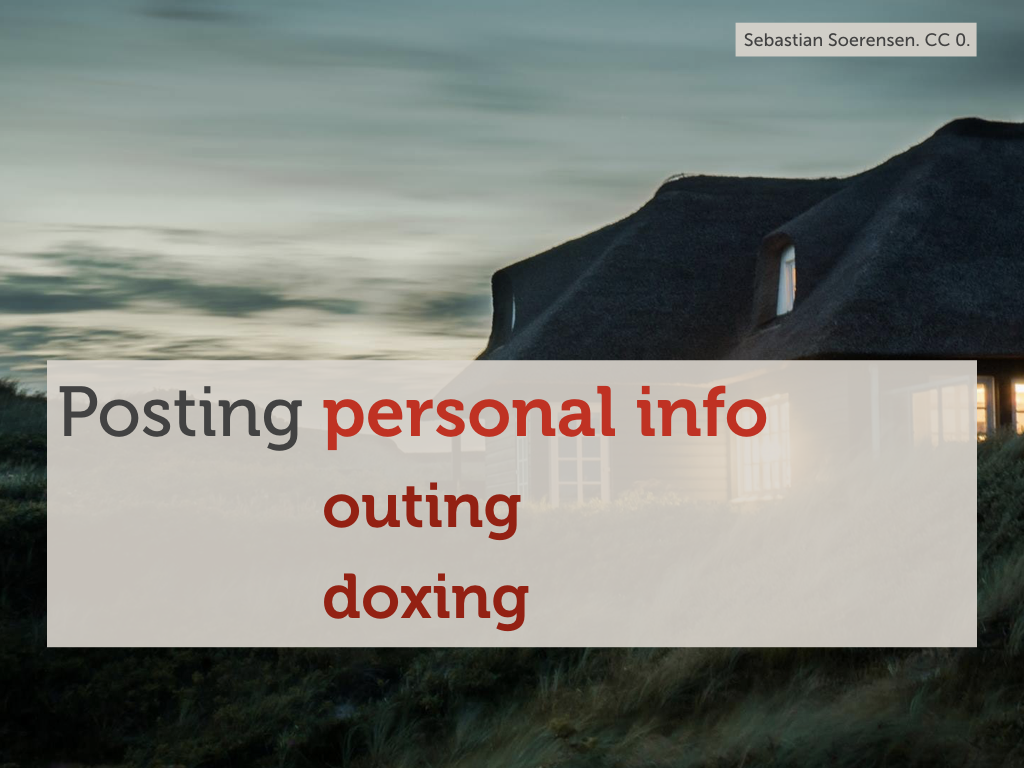 "A photo of a house against a dark sky with the text ""Posting personal info: doxing"" overlaid."