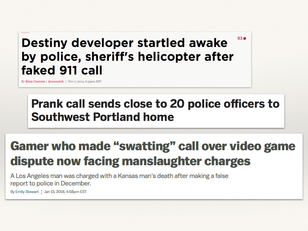 Newspaper headlines about people who had police or SWAT teams come to their home.
