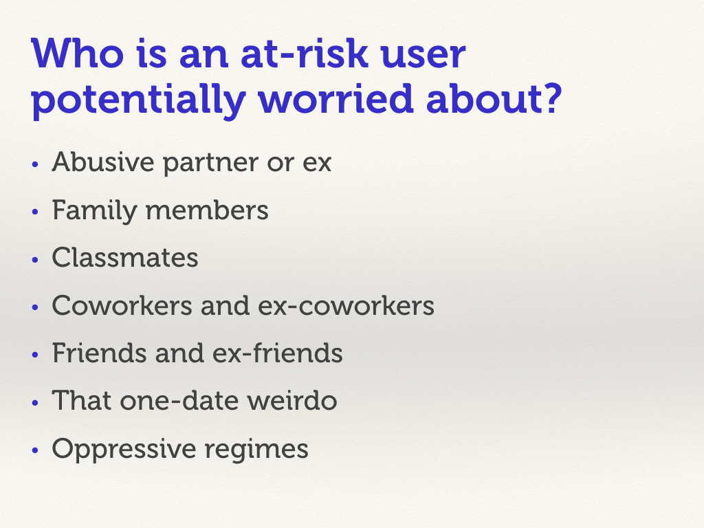 "Slide with a bulleted list. ""Who is an at-risk person potentially worried about?"""