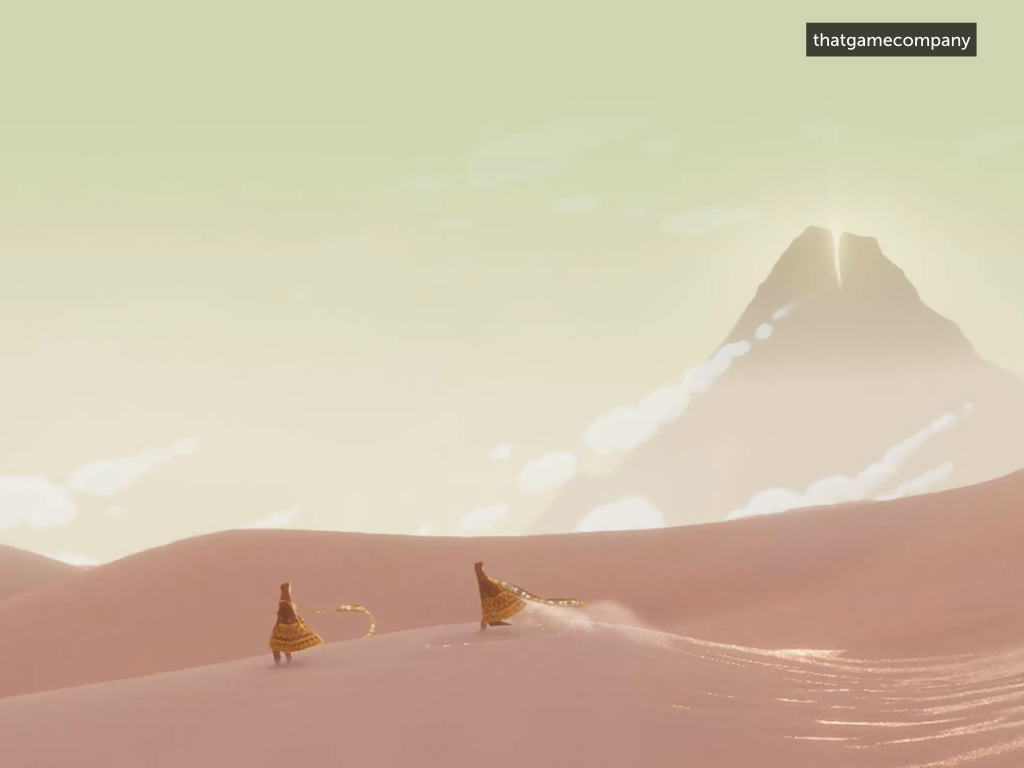 A screenshot from the game Journey; orange characters in a desert with a green sky.