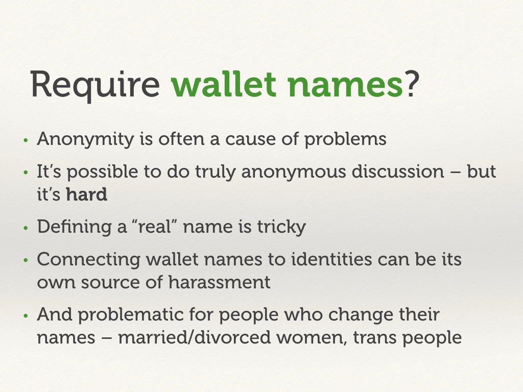 Require wallet names?