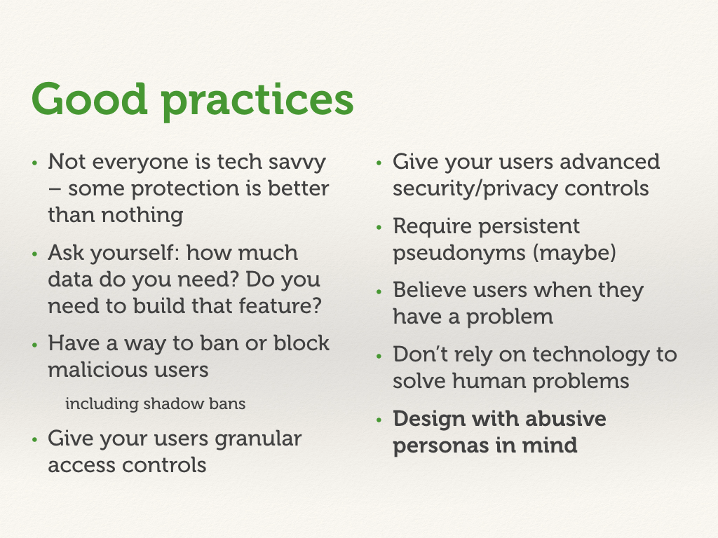 Recap slide with best practices.