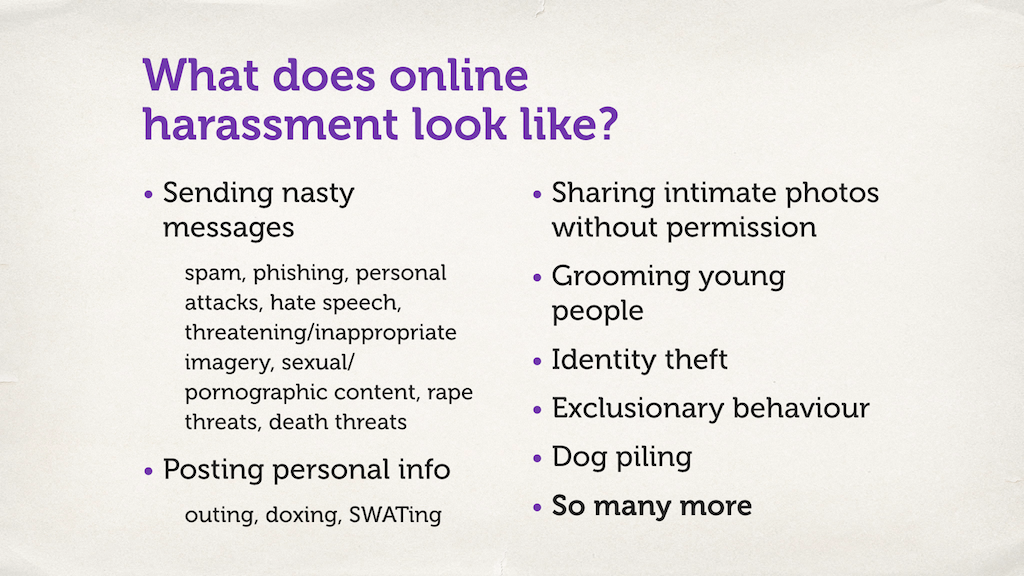 "Text slide. ""What does online harassment look like?"""