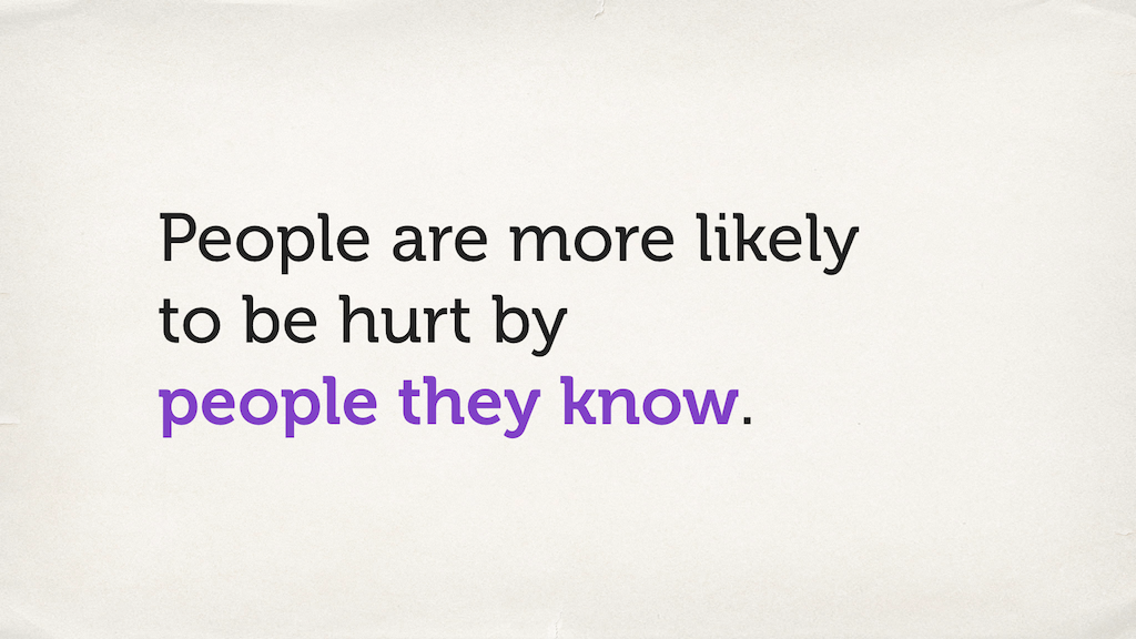 "Text slide. ""People are more likely to be hurt by people they know."""