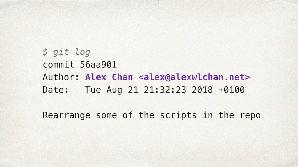 Information about a Git commit, with the author line highlighted.