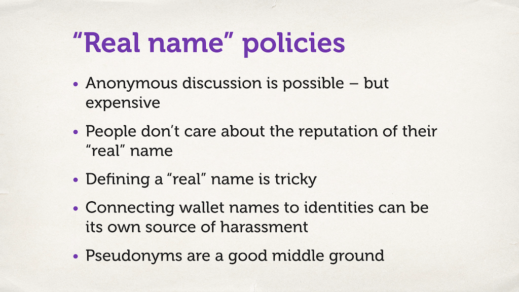 "A slide with a bulleted list. ""'Real name' policies."""