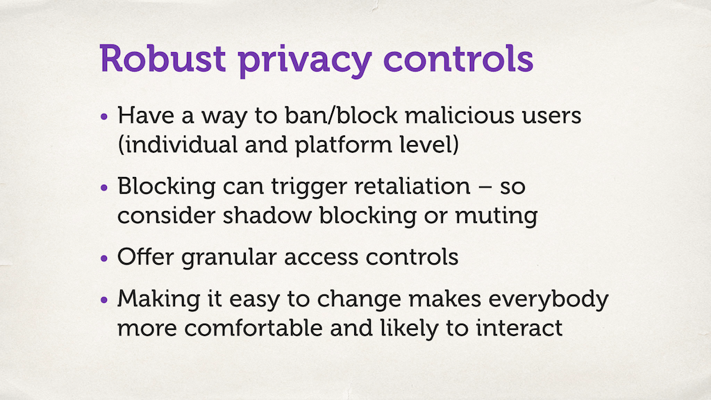 "A slide with a bulleted list. ""Robust privacy controls""."