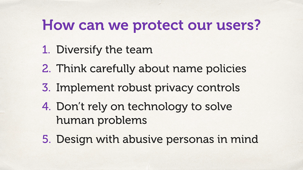 "Slide with a numbered list. ""How can we protect our users?"""