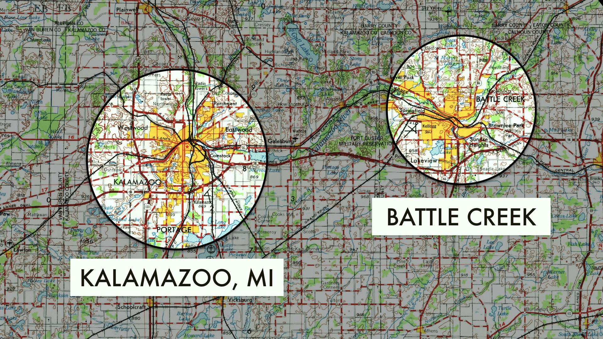 "A map, with circled areas ""Kalamazoo"" and ""Battle Creek""."