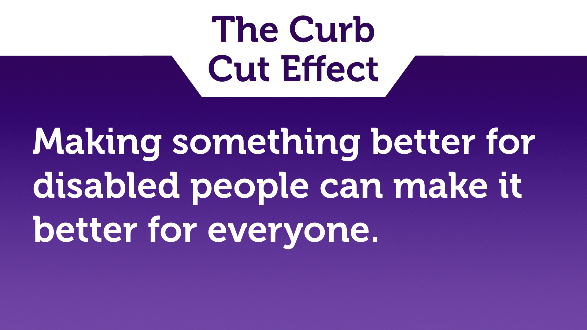 "Text slide, white text on purple. ""Making something better for disabled people can make it better for everyone."""