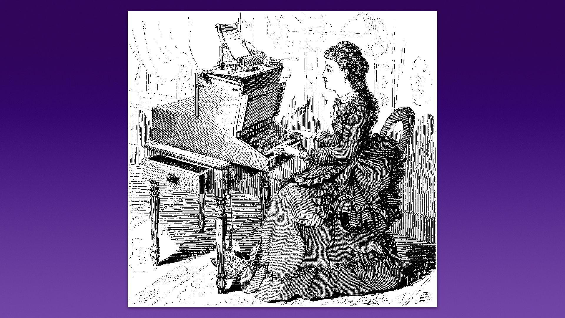 A black-and-white artwork of a woman sitting at a table. There's a large machine with a keyboard on the table.